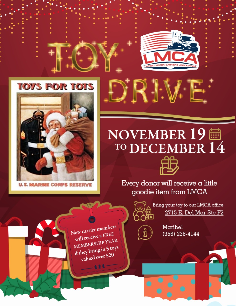 LMCA's 1st Annual Toys for Tots Toy Drive!