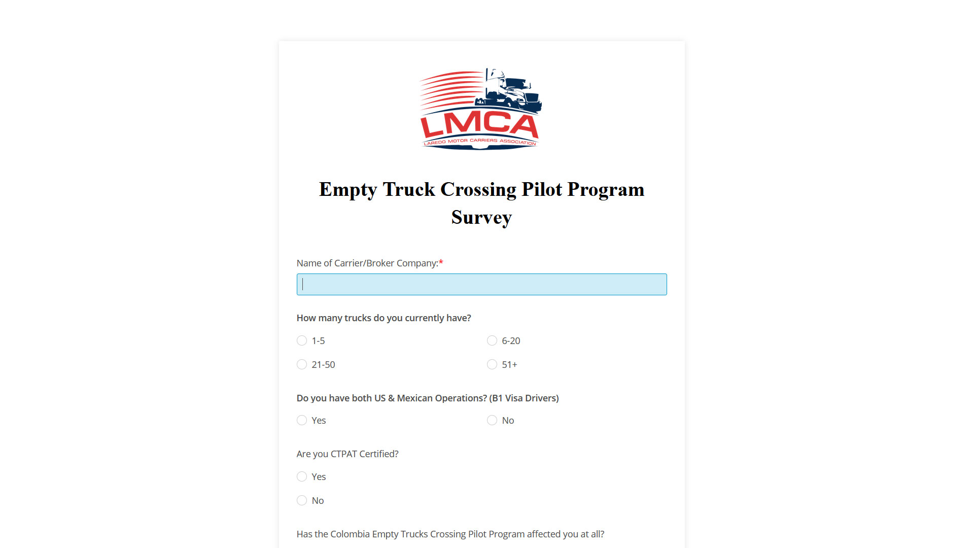 !Empty Truck Crossing Pilot Program Survey!